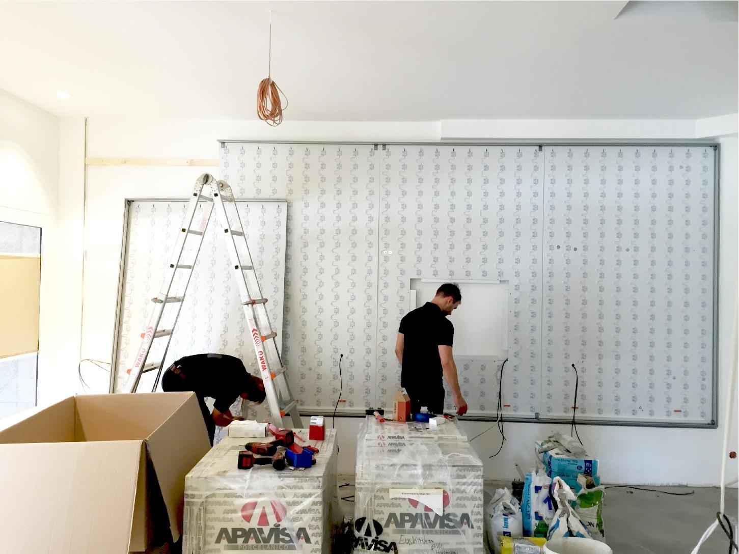 LED-Spannsystem im Aufbau